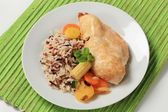 Chicken meat with mixed rice and vegetables — Stock Photo