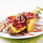 Shish kebab and crispy bacon — Stock Photo #6382099