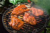 Grilling marinated meat — Stock Photo