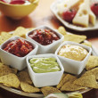 Nachos with Various Dips - Stock Photo