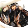 Bowl of mussels — Stock Photo