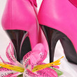 Pink boots, high heels, lily — Stock Photo