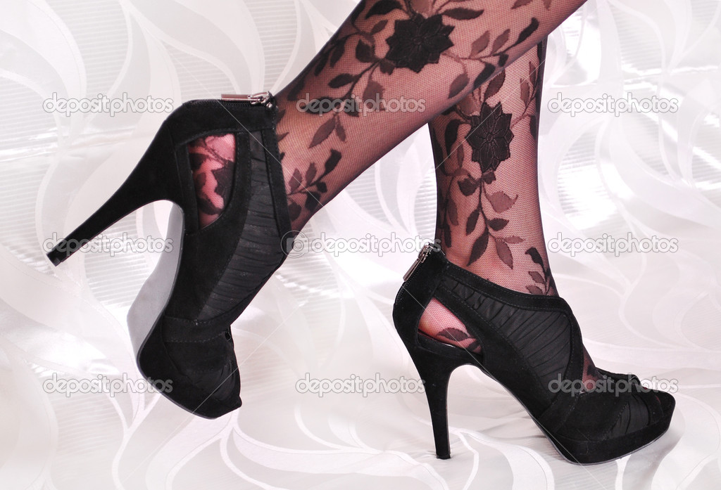 Female, legs, tights, design, shoes, heels, slim, handsome, stud, pantyhose, stockings, nylon, stylish, fashionable, feminine, high — Stock Photo #5496240