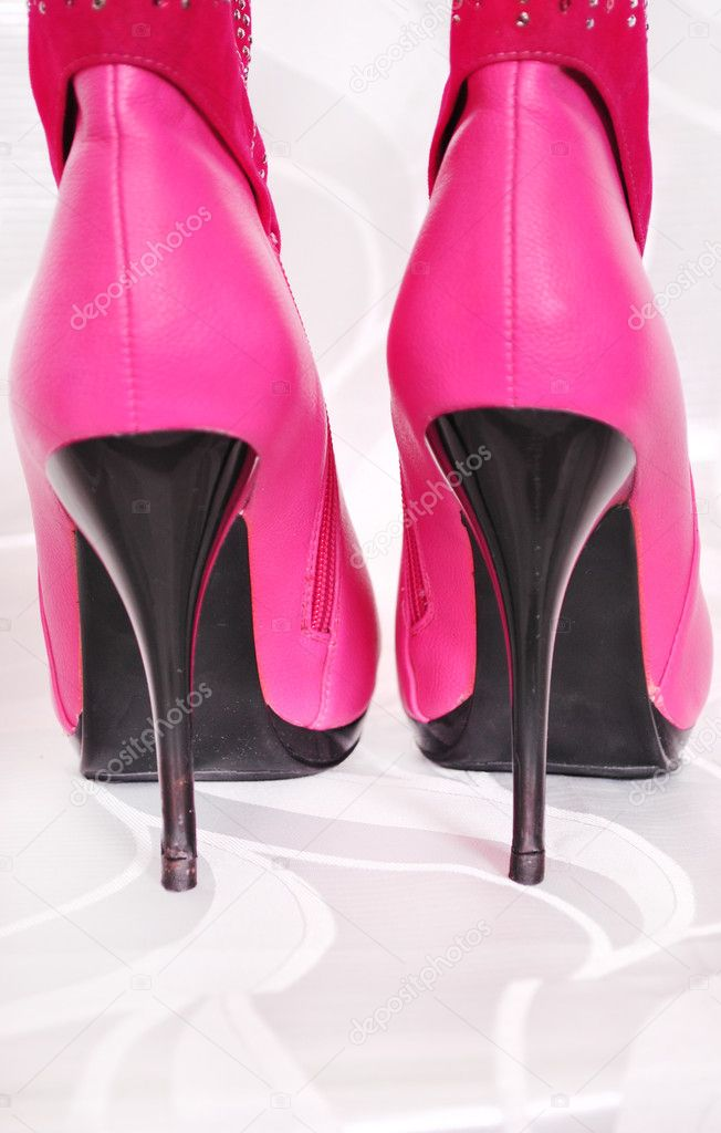 Pink, boots, high heels, female, shoes, high, heels, close-up, trendy, fashion, style, clothing, object, sole, two, behind — Stock Photo #5496250