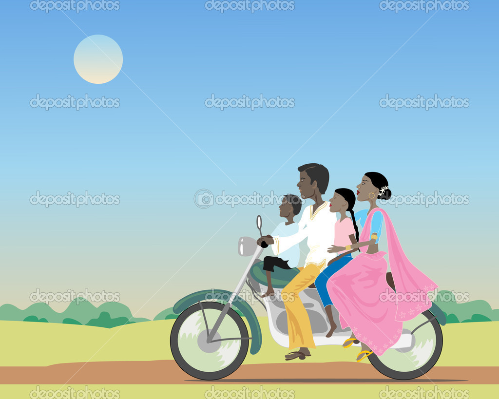 An illustration of an asian family riding a motorcycle in countryside under a dusty blue sky  Stock Vector #5535628