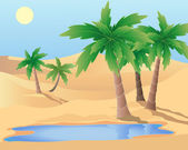 Oasis in the desert — Stock Vector