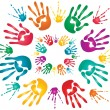 Holi hand prints — Stock Vector #5896373