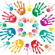 Holi hand prints - Stock Vector