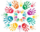 Holi hand prints — Stock Vector