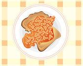 Beans on toast — Stock Vector