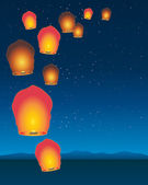 Sky lanterns — Stock Vector