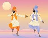 Punjabi dancers — Stock Vector