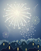 Fireworks in the city — Stock Vector