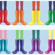 Rainbow boots — Stock Vector