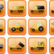 Stock Vector: Vector icons in form of buttons with images of trucks and tr