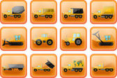 Vector icons in the form of buttons with images of trucks and tr — Stock Vector