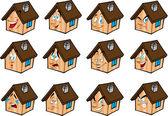 Set vector illustrations little house — Stock Vector