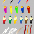 Vector set of subjects of office the handle a pencil a feather — Stock Vector