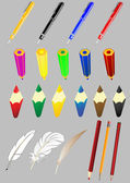 Vector set of subjects of office the handle a pencil a feather — Cтоковый вектор