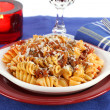 Stock Photo: Rotelle Pastin Tomato Meat Sauce