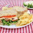 Healthy Turkey Sandwich on Whole Grain Bread - Stock Photo