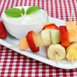 Fruit Kabobs with Dip - Stock Photo