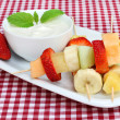 Fruit Kabobs with Dip — Stock Photo