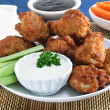 Fresh Chicken Wings with Vegetables and Sauce - Stock Photo