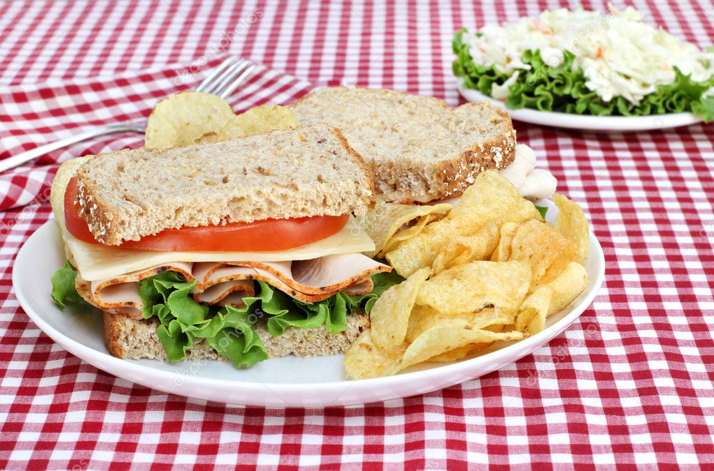 Healthy turkey, Swiss, lettuce and tomato sandwich on wholesome multi-grain bread.  Set, picnic style, on a red checked tablecloth. — Stock Photo #5838927