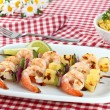 Barbecued Shrimp Kabobs — Stock Photo