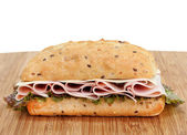 Ham, Swiss and Lettuce on a Whole Grain Roll — Stock Photo
