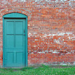 Rustic Green Door in old brick wall. — Stock Photo