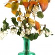 Autumn bouquet in a vase with colored glass on a white background — Stock Photo