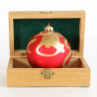 Christmas decoration in a wooden box on a white background — Stock Photo