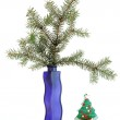 Christmas decoration in colored glass vase on white background — Stock Photo