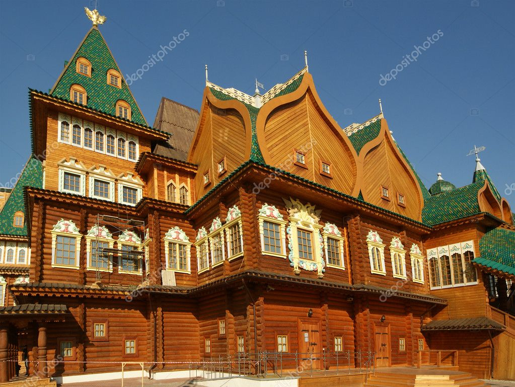 Wooden palace in kolomenskoe moscow russia stock image
