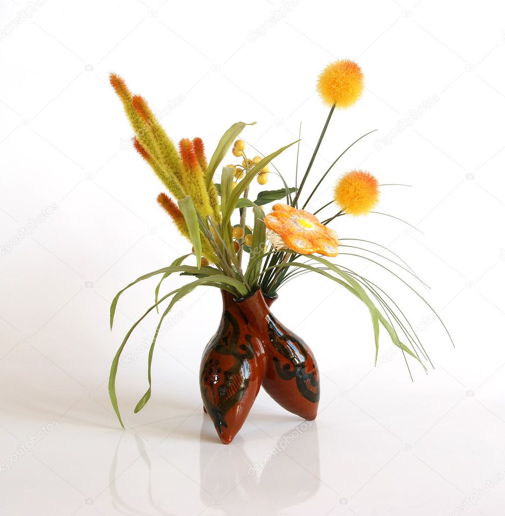 Decorative Ceramic Vase With A Bouquet Of Artificial