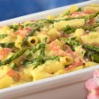 Green Asparagus-Ham-Macaroni Casserole — Stock Photo