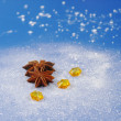 Star Anise with Yellow Stones — Stock Photo