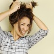 Young Woman Holding Up Her Hair — Stock Photo