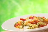 Fusilli with Tomato, Zucchini and Cheese — Stock Photo