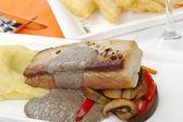 Main Dish: Tuna with Mashed Potatoes — Stock Photo