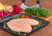 Raw Chicken Breast in Frying Pan — Stock Photo