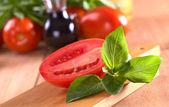 Fresh Basil with Tomato — Stock Photo
