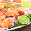 Peruvian Ceviche with King Prawn - Stock Photo