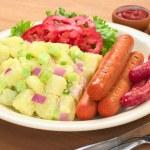 Sausages and Potato Salad — Stock Photo #5622994
