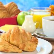 Continental Breakfast with Croissant — Stock Photo