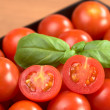 Royalty-Free Stock Photo: Cherry Tomatoes with Basil Leaf