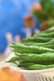 Fresh Raw Green Beans in Strainer — Stock Photo