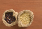 Raw Quinoa Grains in Jute Sack — Stock Photo